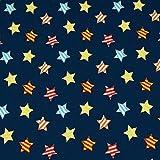 Jersey bunte Sterne, blau (50cm x 150cm)