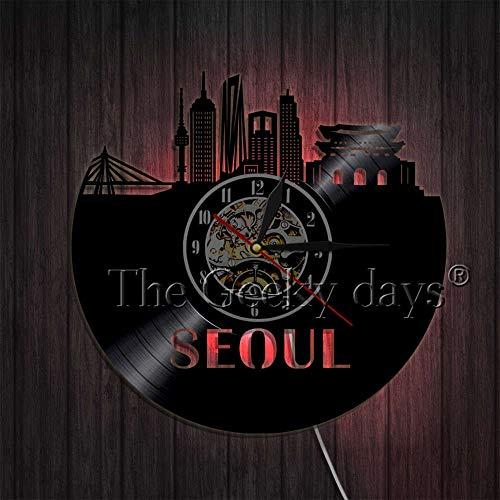 LTOOD 1 stuk Seoul Skyline Art Decoratieve Wandklok Modern Design Korea Hoofdstad Cityscape Vinyl Record Wandklok Unieke Reizen Geschenken