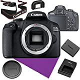 Canon EOS 2000D (Rebel T7) Digital SLR Camera Body Bundle + Neck Strap + Battery + Charger + Cap + Cleaning Cloth