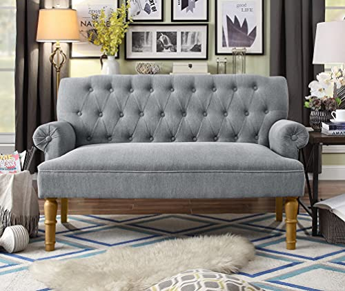 Rosevera Hermosa Upholstered Loveseat Settee, Dining Tufted Button Sofa Also for Living Room and Entryway Bench Couch, 29'' H x 59'' W X 37'' D, Dailyvelvet Gray