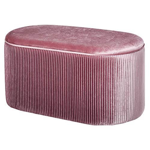 HOMCOM Sitzbank Polsterbank mit Stauraum Truhenbank für Wohnzimmer französische Stil Samt elegant Rosa 81 x 40 x 41 cm