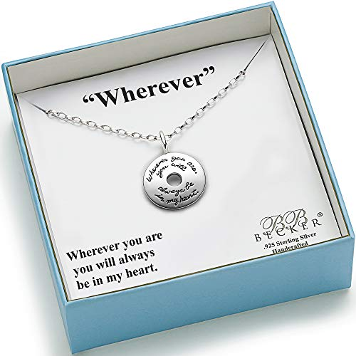 BB Becker Wherever Sterling Silver Necklace - Girlfriend/Wife, Gift for Her, Always In My Heart, Jewelry for Her, Birthday Relationship, Romantic, Friendship, Anniversary Gifts