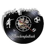 ZFANGY Reloj de Pared de la Ciudad de Alemania Monchengladbach, Reloj de Pared del Estadio de fútbol de Deutschland, decoración de los campeones, Reloj de Pared con Registro de Vinilo sin LED