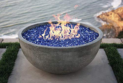 One Stop Outdoor Vivid - 30' Concrete Fire Bowl - Grey Cement Round Fire Pit - Natural Gas (Grey)