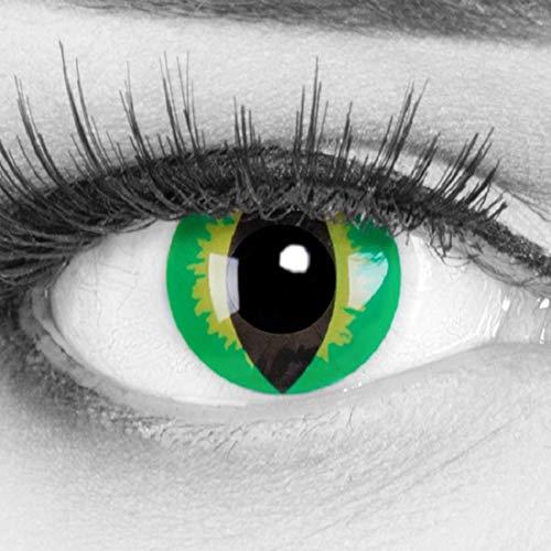 Funnylens 1 Paar farbige grüne gelbe Schlangenaugen Crazy Fun Green Dragon Jahres Kontaktlinsen perfekt zu Halloween, Karneval, Fasching oder Fasnacht mit gratis Kontaktlinsenbehälter ohne Stärke!