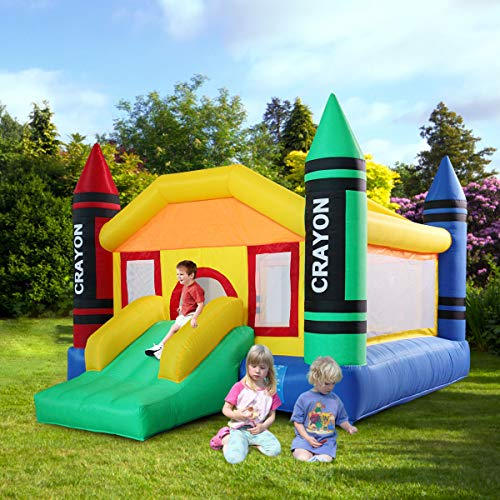 Great Deal! Inflatable Jumping Bounce House Castle Jumper Bouncer Slide Kids Outdoor w/ Oxford Carry...