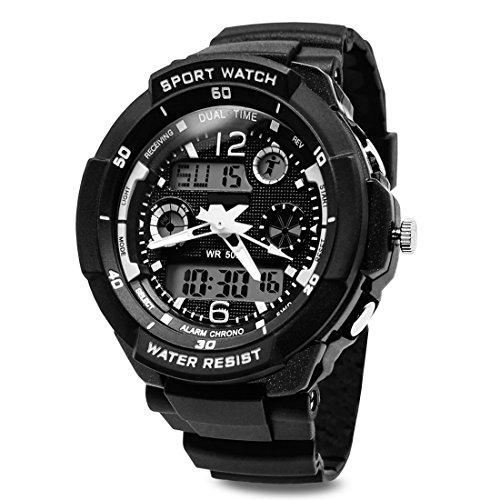 TOPCABIN Jungen Uhren Mädchen Kinder Armbanduhr Digital Analog Wasserdicht mit Wecker/Timer/LED-Licht,Elektronische Stoßfest Handgelenk Sports Uhren für Jungen Uhr Weiß