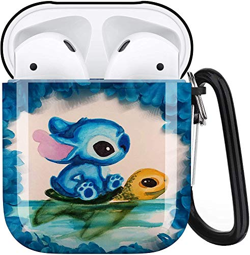 Stitch Aripiod Personalise Custom, AirPod Case Cover Compatiable with Apple AirPods 1st/2nd,Full Protective Durable Shockproof Drop Proof with Keychain Compatible