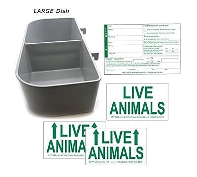 DryFur Kennel Travel Kit for Pets - Hook-On Dish & Live Animal Labels (Large)