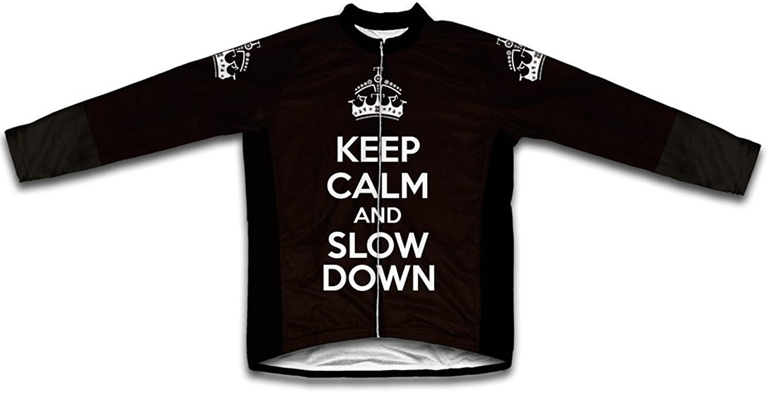 Keep Calm and Slow Down Long Sleeve Cycling Jersey for Women Black Size 3XL