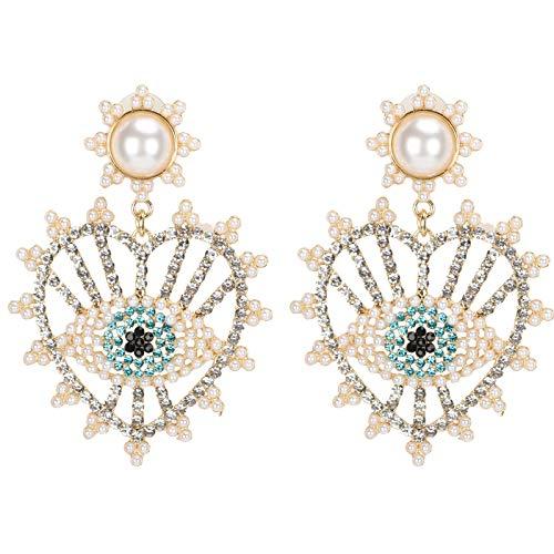 Pssopp Borla Cadena Gota cuelga pequeño aro Que GANA Pendientes Bohemios Borla Diamantes Borla Oreja con Borla de Diamantes de imitación para decoración de Mujer