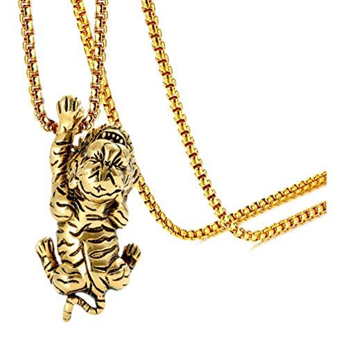 Xusamss Punk Titanium Steel Animal Tiger Pendant Necklace,22inches Chain