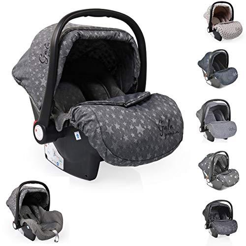 Moni Babyschale Gala Premium Gruppe 0+ (0-13 kg), Fußabdeckung, Sitzpolster, Farbe:grau Sterne