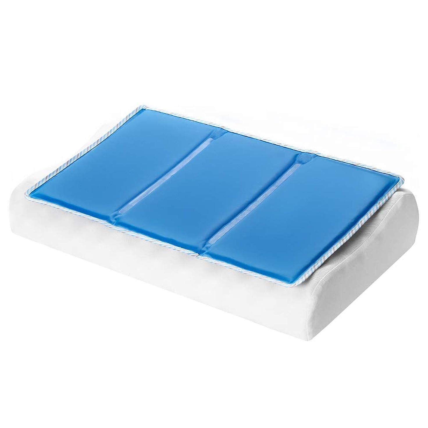 拡声器日帰り旅行にコマンドひんやり枕パッド 2019年新版冷却マット枕 ひんやり敷きパッド 冷感 敷きパッド クールマット枕 ひんやりジェルマット 枕カバー 熱中症対策 車用 ノートPC用 冷却ジェルシート ブルー 30X50CM