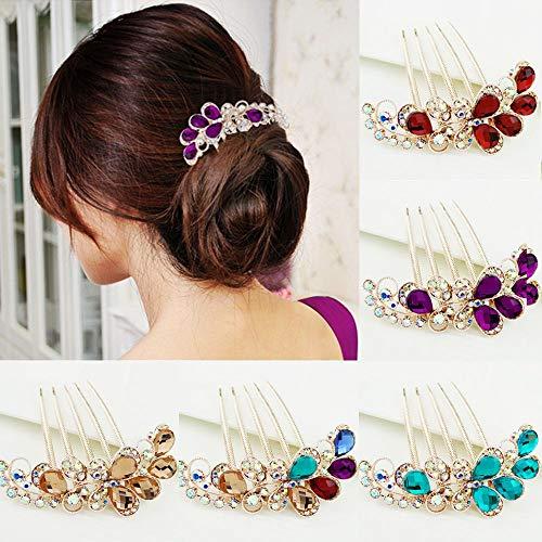 Peigne à cheveux de luxe en strass pour femme (violet)