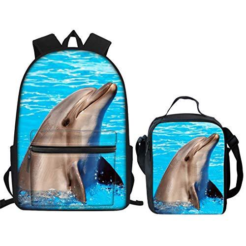 Mochila para niños con diseño de delfín Azul para la Escuela Primaria y Adolescente, con Bolsa de Almuerzo pequeña