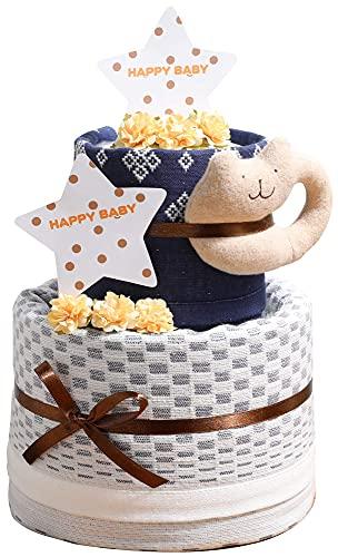 今治タオル imabari towel 名入れ刺繍 出産祝い 日本製 オーガニック 2段 バスタオル おむつケーキ おすみつき (goonパンツタイプLサイズ(男の子用))