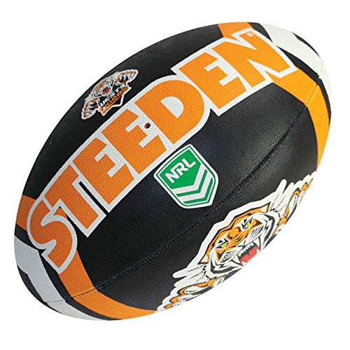 Steeden NRL Wests Tigers Supporter 2020 Rugbyball, schwarz/orange, Schwarz , 5