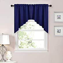JUPON Half Window Kitchen Tier Curtains- Tailored Scalloped Valance/Swags (1 Set, 90 inch Wide Combined, 35 inch Long, Blue)