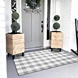 Ailsan Buffalo Plaid Rug Doormat 35.4'' x 59'' Cotton Woven Grey White Check Rugs Farmhouse Indoor or Outdoor Washable Rug Runner Layered Welcome Door Mats for Porch Bedroom Kitchen Throw Carpet