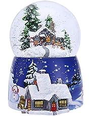 Heshengwan Christmas Snow Globe Glitterdome, 3D Crystal Ball Caja de música Luces LED de Colores Copo de Nieve Bola de Vidrio oscilante, Musical Estilo Vintage Winter Cottage niños