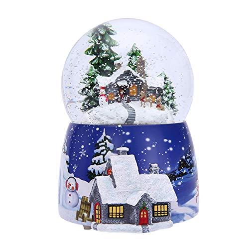 Heshengwan Weihnachten Schneekugel Glitterdome, 3D-Kristallkugel Spieluhr Bunte LED-Lichter Schneeflocke Roating Glaskugel, musikalische Vintage-Stil Winter Cottage Kinder, Mädchen, Frauen