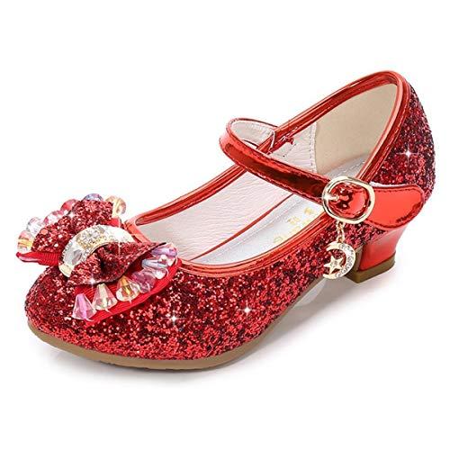 AIYIMEI Disfraz Princesa Zapatos Elsa Zapatos de Lentejuelas Antideslizante Niñas Zapatos de Tacón Velcro Zapatillas de Baile para Vestir Fiesta Cumpleaños Boda Infantil EU26-38
