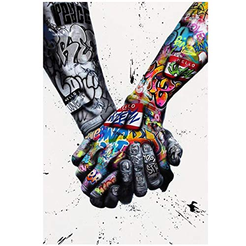 Street Graffiti Art Posters and Prints Lover Hands Colorful Abstract Canvas Painting Banksy Wall Art Pictures Artwork A1 60x84cm Unframed