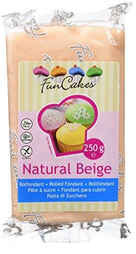 FunCakes Fondant para Cubrir Tartas, Cupcakes, Galletas o Modelar color Beige Piel: Sabor Vainilla, Flexible, Sin Gluten, Halal, Kosher D, Apto Véganos, 250g, FC97875
