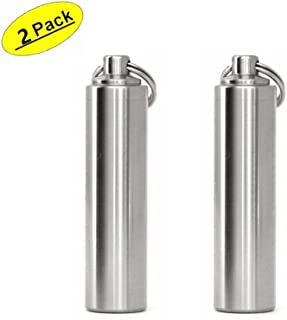 douper STAINLESS STEEL Keychain Pill Fob Outdoor Waterproof Pill Holders (Large 2 pack)