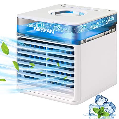 Mini Air Cooler, JIMACRO Mobile Klimageräte Tragbare Luftkühler Klimaanlage Luftkühler, Luftbefeuchter und Luftreiniger Büro Desktop-Luftkühler Mini-Ventilator für Zuhause, im Freien