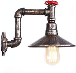 Belief Rebirth Water Pipe Wall Lamp E27 Lamp Holder Metal Vintage Nostalgia Wall Sconce Retro Industrial Loft Style for Office Corridor Restaurant Cellar Wall Lamps Decor - 1 Light
