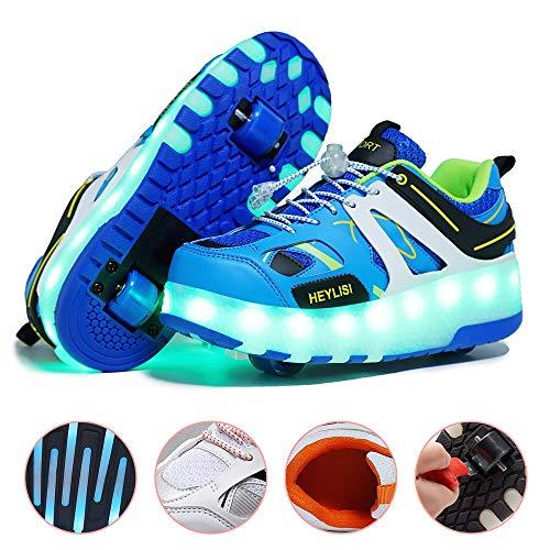 WXBXIEJIA Unisex NiñOs LED Zapatos De Roller con Ruedas Zapatillas De Deporte Zapatillas De PatìN Roller Sneakers Deportivos con Luz para Patines De Ruedas Iluminan Los Entrenadores (28-40) Blue-39