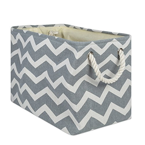 "DII Collapsible Polyester Storage Basket or Bin with Durable Cotton Handles, Home Organizer Solution for Office, Bedroom, Closet, Toys, & Laundry (Medium - 16x10x12""), Gray Chevron"
