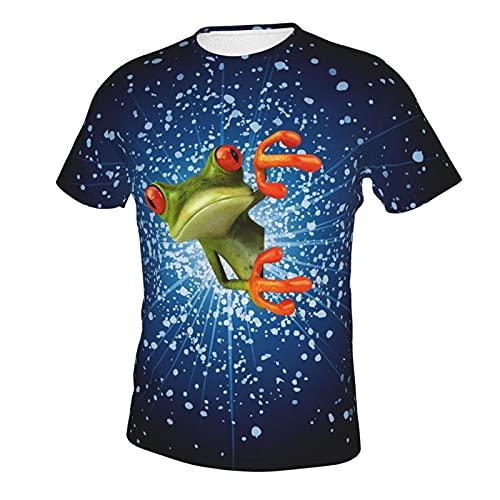 ABCEEEK Peeping Frog - Camiseta de manga corta con cuello redondo de algodón para hombre, diseño clásico de doble cara