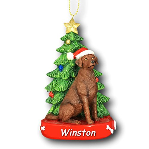 Kurt Adler Personalized Brown Labrador Retriever Dog with Glitter Santa Hat and Christmas Tree Christmas Ornament - 4.25 Inches