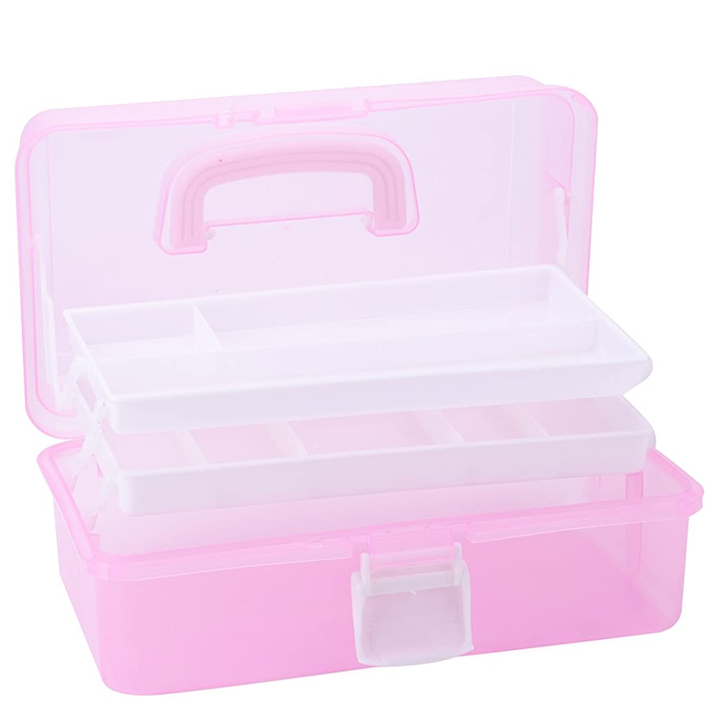 Tosnail Multipurpose Plastic Art Craft Supply Storage Case Storage Container with Two Trays (Pink)