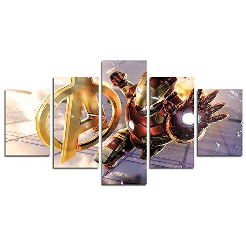 Leyruk 5 unidades Iron Man Marvel Avengers Super Age Super Age lienzo pintura para sala de estar decoración para el hogar arte de la lona cartel de la pared HX043 Sin marco (sin marco)
