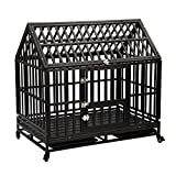 Haige Pet Your Pet Nanny 46' Heavy Duty Dog Crate Cage Strong Metal Kennel for Large Dogs Easy to Assemble with Two Prevent Escape Lock and Four Lockable Wheels