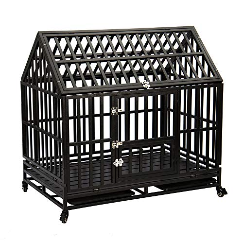 Gelinzon Roof Dog Cage Crate Kennel Heavy Duty...