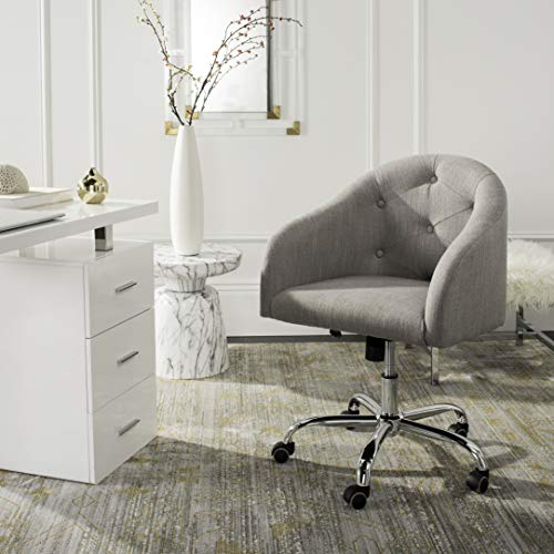 Safavieh Home Amy Grey Linen and Chrome Leg Tufted Swivel Office Chair
