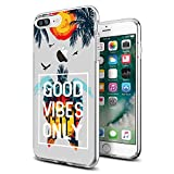 cocomong Novetly Clear Good Vibes Only Sea Turtle Protective Slim iPhone Case for iPhone 7 Plus / 8 Plus 5.5 Inch for Women Girls Men