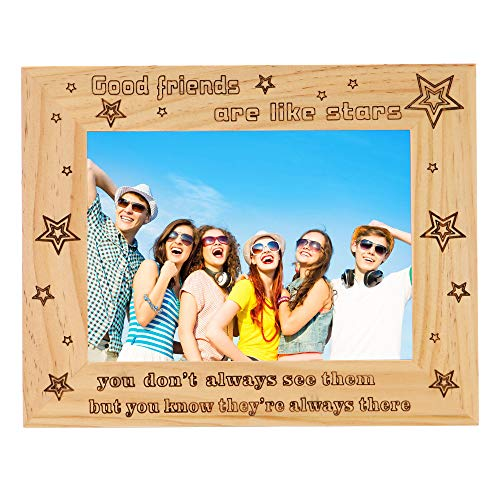 FAYERXL Engraved with Good Friends are Like Stars Picture Frame Gift for Best Friends,Home Decor Keepsake for Friend Wedding Day (5x7 Inch Good Friends are Like Stars)