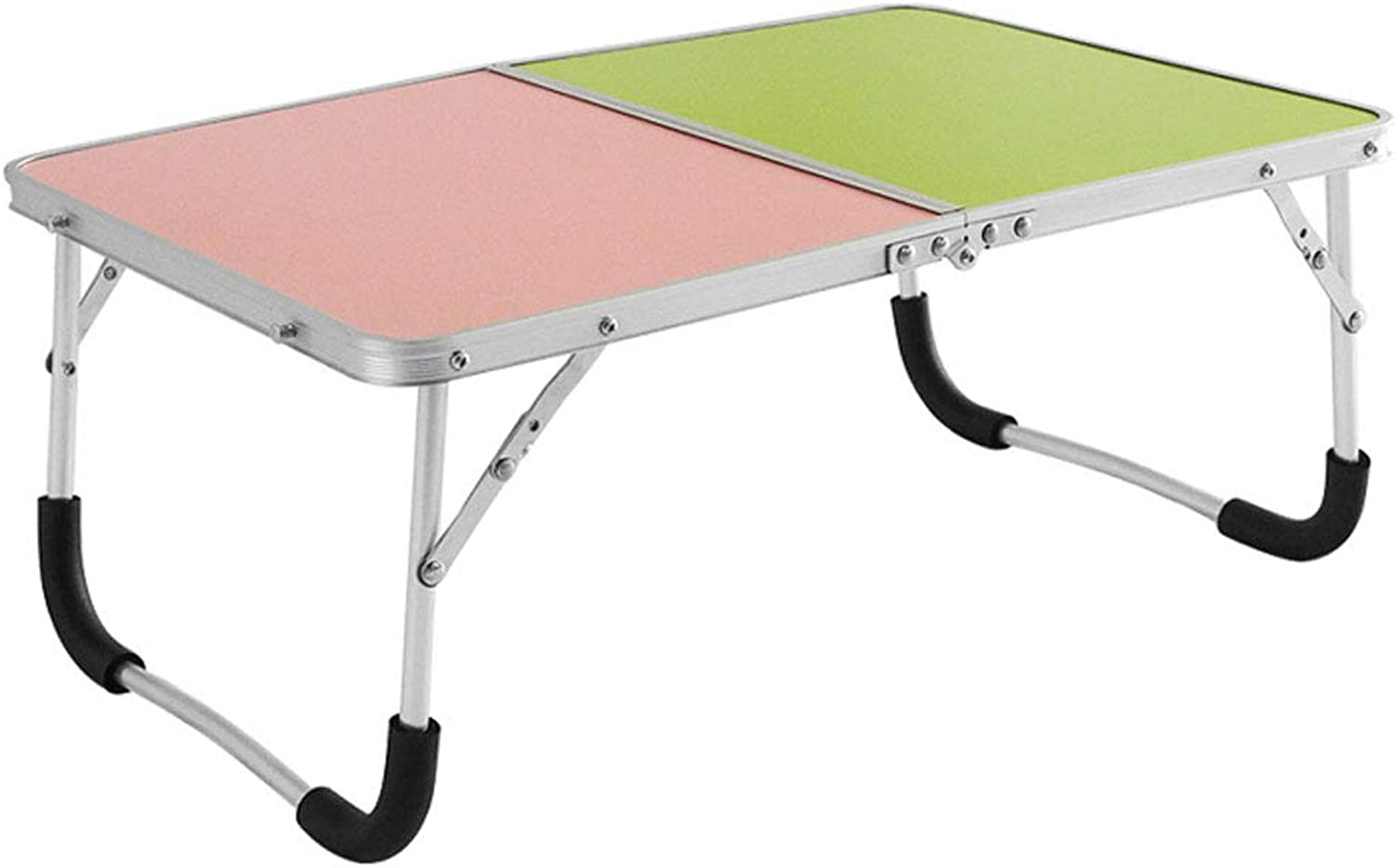 ZDD Folding Table- Modern Minimalist Household Portable Folding Table, Home Bedroom Laptop Table (color   Pink Green A, Size   61x42.5x26.5cm)