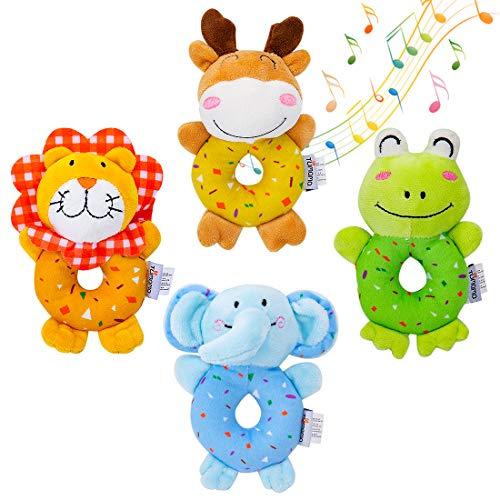 Babyspielzeug für 3, 6, 9, 12 Monate Neugeborene mädchen Junge, weiche süße Kuscheltier Rasseln für Baby und Kleinkinder Entwicklungshandgriff, 4 Stück