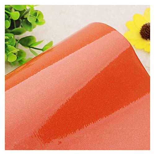 WLKJ Decoración de Pared Negro Blanco del Brillo Auto-Adhesivo del Vinilo del PVC del Papel Pintado del Papel Pintado Papel de Cocina Muebles Impermeable (Color : Orange 1, Size : 61cmx5m)