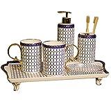 DUOER HOME Accesorios de baño Accesorios de Lujo en el baño de cerámica con dispensador de jabón/loción, Soporte de Cepillo de Dientes, Vaso, Soporte de jabón Juegos de Accesorios de baño