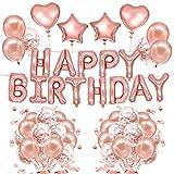 Yidaxing Decorazione di Compleanno Bambini, Palloncini per Compleanno Oro Rosa di Palloncini Oro Rosa Festone 40 Palloncini in Lattice 20 Palloncini Trasparenti con coriandoli Oro Rosa