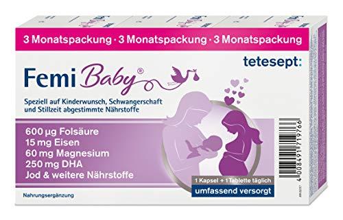 tetesept Femi Baby - 16 Nährstoffe für Kinderwunsch, Schwangerschaft & Stillzeit - Vitamine & Mineralstoffe wie Folsäure, Eisen, Magnesium, Jod + DHA – 1 x 3-Monats-Packung à 90 Tabletten + 90 Kapseln