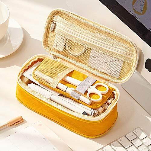 N / A Einfache koreanische große Kapazität Leinwand Stift Fall Grundschule Junior High School Schüler Schreibwaren Tasche Bleistift Tasche, wie Zeigen